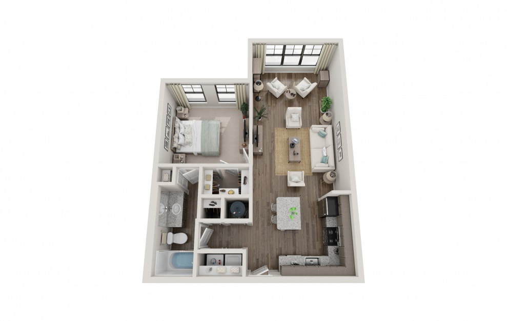 A1D - 1 bedroom floorplan layout with 1 bath and 793 square feet.