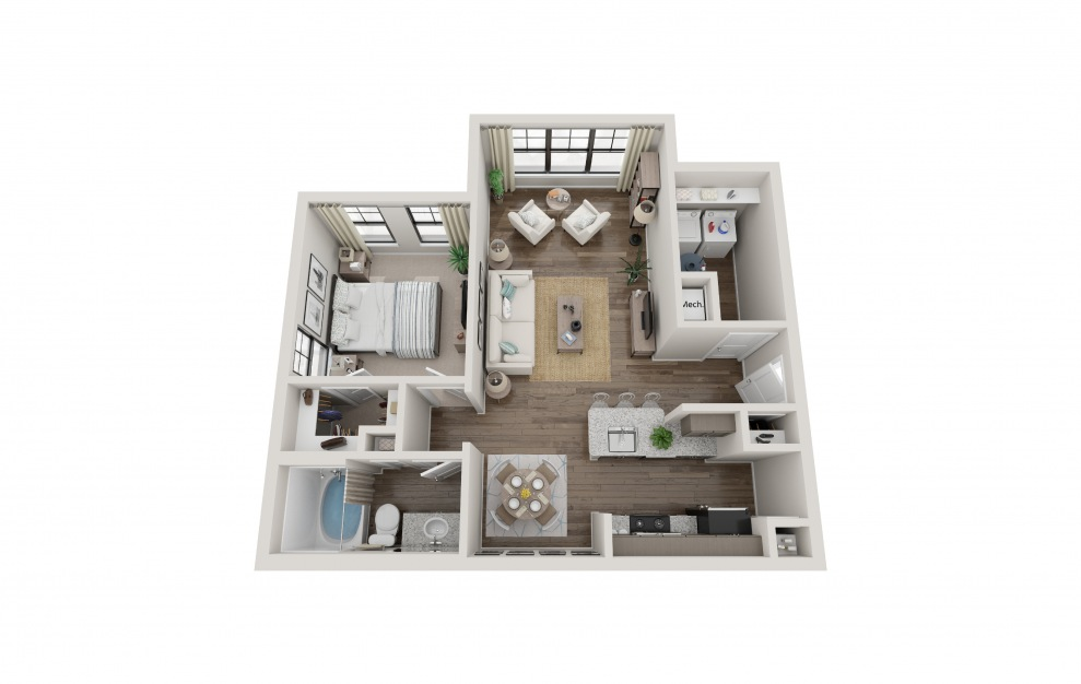 A1E - 1 bedroom floorplan layout with 1 bath and 822 square feet.