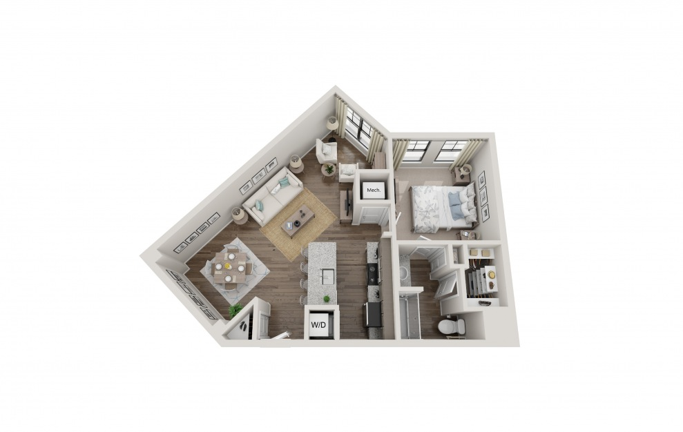 A1F - 1 bedroom floorplan layout with 1 bath and 849 square feet.