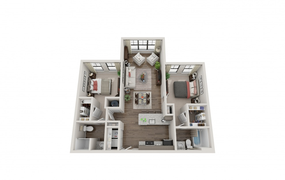 B2B - 2 bedroom floorplan layout with 2 baths and 1031 square feet.