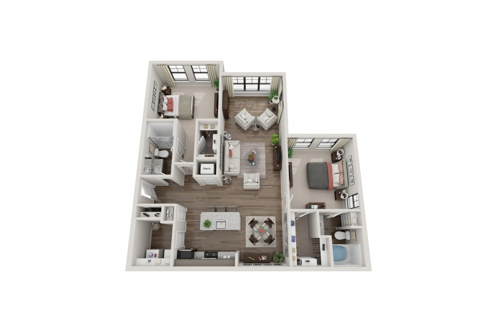 B2E - 2 bedroom floorplan layout with 2 baths and 1266 square feet.